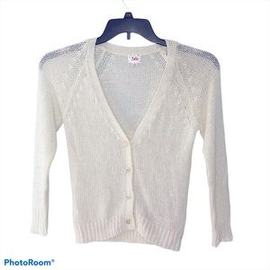 Justice Open Knit White Metallic Cardigan Sweater